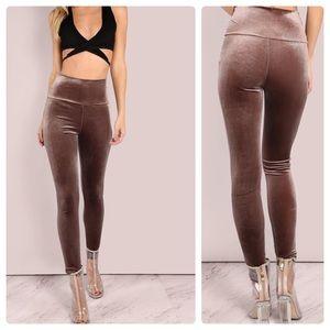 Velvet high waist stretch leggings XS S